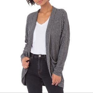 Z Supply Striped Brushed Ribbed Sweater Cardigan